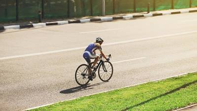 Biking in a triathlon